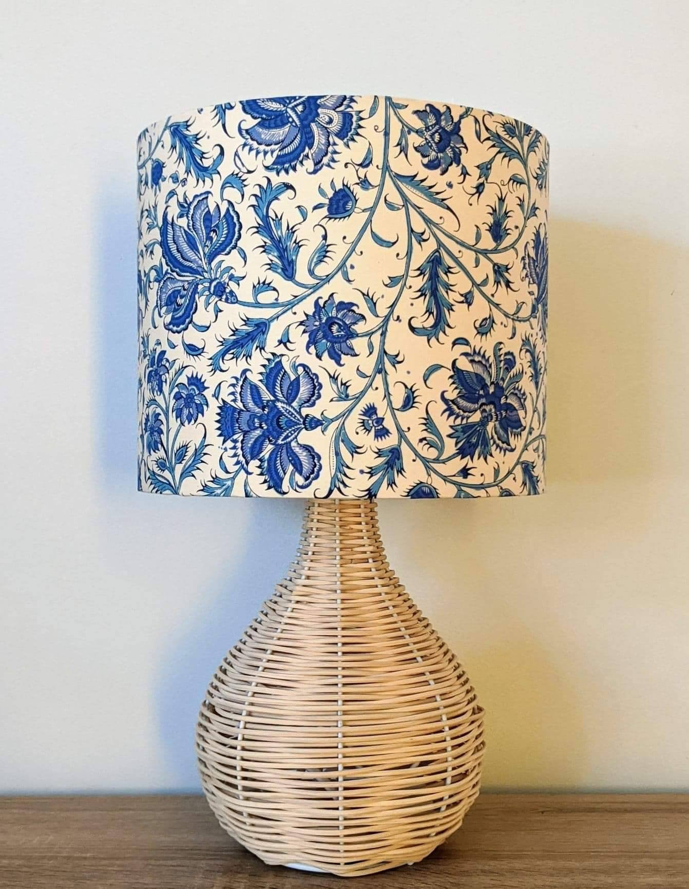 Cream Bedside Tables: Hamptons Flowers Blue And Cream Lampshade